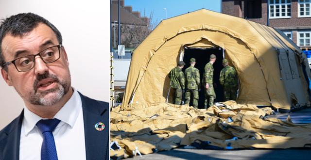 Per-Erik Ebbeståhl och intensivvårdsmodul utanför sjukhuset i Helsingborg TT