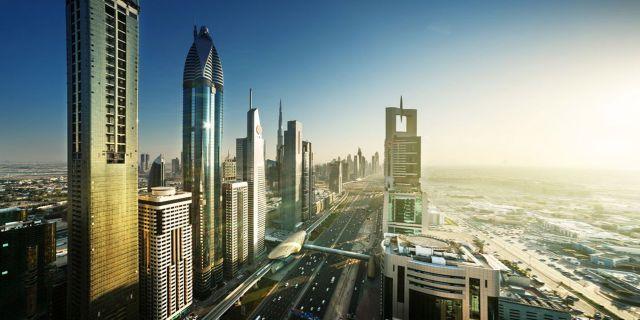 Världens högsta hotell, Gevora Hotel, kommer att husera i den guldskimrande skyskrapan längst till vänster. Istock