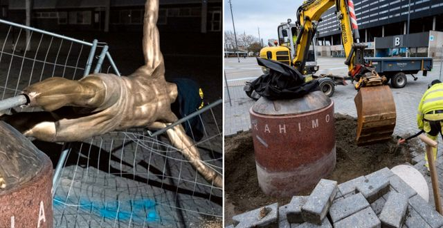 Zlatanstatyn sågades av vid fötterna tidigare i januari. Nu har snart de sista resterna av den forslats bort. TT