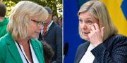 Gotlands regionråd Eva Nypelius (C) och Sveriges finansminister Magdalena Andersson (S) Janerik Henriksson/TT och Ali Lorstani/TT