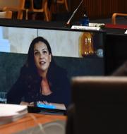 Mel Silva, Googles Australien-chef, under en digital utfrågning i australiska senaten.  TT