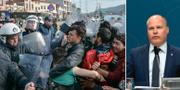 Flyktingar och kravallpolis på Lesbos / Morgan Johansson TT