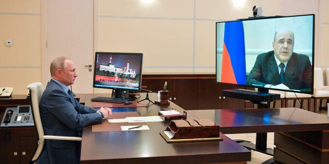 Arkivbild/Tidigare videokonferens mellan Misjustin och Putin. Alexei Druzhinin / TT NYHETSBYRÅN