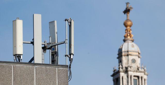 Nätverksmaster i London.  Alastair Grant / TT NYHETSBYRÅN