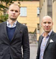 Börspoddens grundare Johan Isaksson och John Skogman. Pressfoto