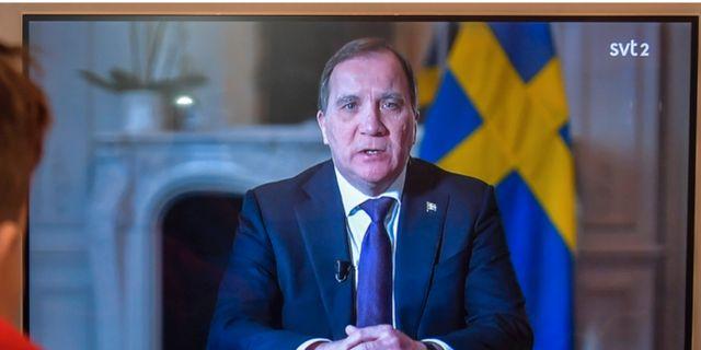 Statsminister Stefan Löfven under söndagens tal till nationen. TT