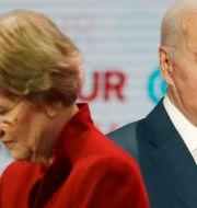 Arkivbild: Senatorn och tidigare aspirerande presidentkandidaten Elizabeth Warren tillsammans med Joe Biden, demokraternas de facto presidentkandidat.  Chris Carlson / TT NYHETSBYRÅN