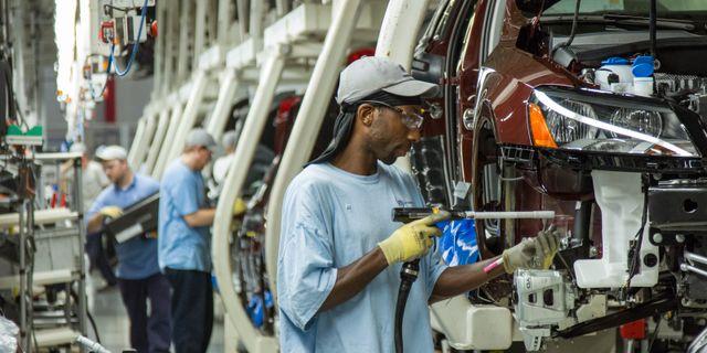 Bandet hos Volkswagen, här dock i en amerikansk fabrik.  Erik Schelzig / TT NYHETSBYRÅN