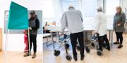 Väljare i Malmö på plats i vallokalen. TT