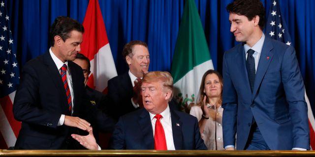 Arkivbild: De tre ländernas ledare vid signeringsceremonin i november. Pablo Martinez Monsivais / TT NYHETSBYRÅN