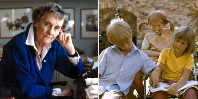 Astrid Lindgren samt en bild från en scen ur en film om Pippi Långstrump. Arkivbilder. TT