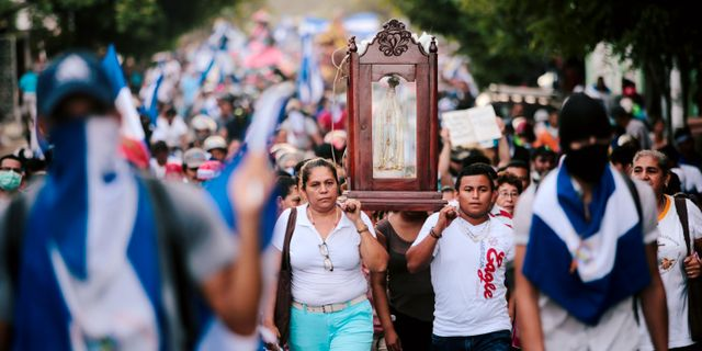 Demonstranter i Nicaragua. OSWALDO RIVAS / TT NYHETSBYRÅN