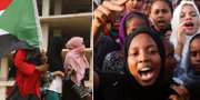 Människor firar i Khartoum i Sudan efter en politisk uppgörelse mellan proteströrelsen och militärjuntan.  TT