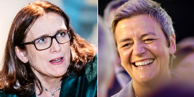 Cecilia Malmström (L) och Margrethe Vestager TT