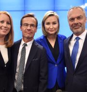 Annie Lööf (C), Ulf Kristersson (M), Ebba Busch (KD) och Jan Björklund (L) 2018.  Henrik Montgomery/TT / TT NYHETSBYRÅN