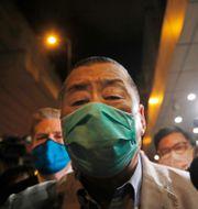Jimmy Lai efter han släppts mot borgen. Kin Cheung / TT NYHETSBYRÅN