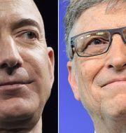 Jeff Bezos och Bill Gates.  EMMANUEL DUNAND / AFP