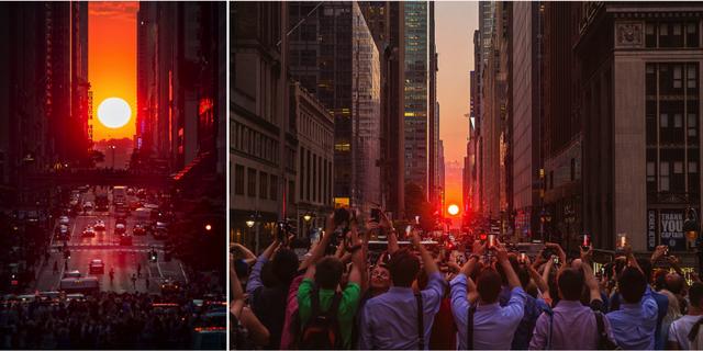 42nd Street är en av de bästa platsen att se Manhattanhenge på. Flickr / Strykapose