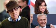 Vänster: Woody Allen. Höger: Christoph Waltz, Gina Gershon.  TT
