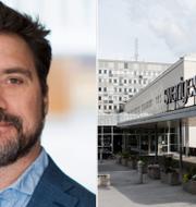 Reportrar utan gränsers ordförande Erik Halkjaer och entrén till radiohuset i Stockholm.  Reportrar utan gränser / TT