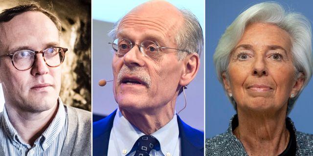 DI:s Andreas Cervenka, Riksbankens Stefan Ingves och ECB:s Christine Lagarde Magnus Niederman/TT, Claudio Bresciani/TT och Michael Probst/AP/TT