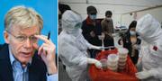 Bruce Aylward / sjuksköterskor i Wuhan delar ut mat till patienter TT
