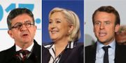 Jean-Luc Mélenchon, Marine Le Pen och Emmanuel Macron. TT