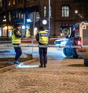 Polisen på brottsplatsen. Mikael Fritzon/TT / TT NYHETSBYRÅN