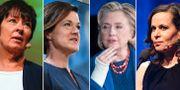 Mona Sahlin, Anna Kinberg Batra, Hillary Clinton och Sara Danius. TT