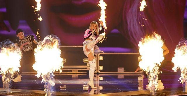 Vitrysslands framträdande i Eurovision song contest.  AP