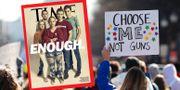 Omslaget från Time Magazine. I bakgrunden bild från en av vapenprotesterna i Washington till följd av Floridaskjutningen.  TT / Time