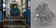 Till vänster, tillverkningen av tegelstenar av aska, plast och cement. TT