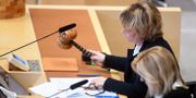 Riksdagens ålderspresident Beatrice Ask (M) under uppropet i riksdagen i Stockholm. Fredrik Sandberg/TT / TT NYHETSBYRÅN
