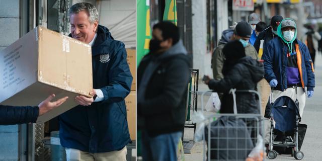 Borgmästare Bill de Blasio tar emot en kartong ansiktsmasker som New York fått av FN TT