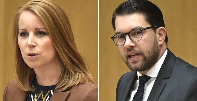 Lööf och Åkesson under debatten. TT
