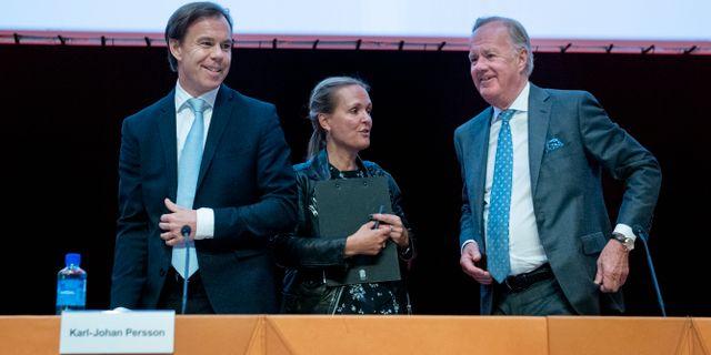 Vd:n Karl Johan Persson och ordföranden Stefan Persson.  Jessica Gow/TT / TT NYHETSBYRÅN