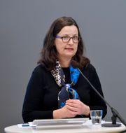 """Anna Ekström på presskonferens om utredningen om"""" fler barn i förskolan för bättre språkutveckling i svenska"""". Anders Wiklund/TT / TT NYHETSBYRÅN"""