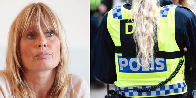 Juristen Ulrika Rogland och en arkivbild på en polis. TT