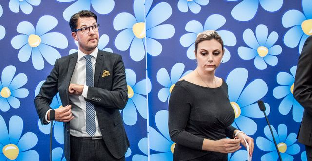 Sverigedemokraternas Jimmie Åkesson och Paula Bieler.  Tomas Oneborg/SvD/TT / TT NYHETSBYRÅN