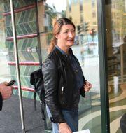 LO-basen Susanna Gideonsson på väg in till förhandlingarna.  Fredrik Sandberg/TT / TT NYHETSBYRÅN