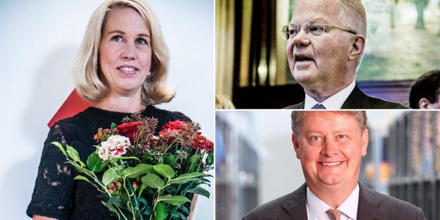 Industrivärdens vd Helena Stjernholm, Lundbergföretagens Fredrik Lundberg och Latours vd Johan Hjertonsson. TT