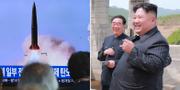 Bilder från i lördags när sydkoreansk tv rapporterade om uppskjutning av projektiler.  TT