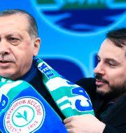 Turkiets finansminister Berat Albayrak  och president Recep Tayyip Erdogan Lefteris Pitarakis / TT NYHETSBYRÅN