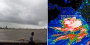 Hårda vindar i Indien och satellitbilder av cyklonen. TT.