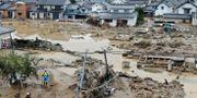 Översvämmat område i Nagano. TT NYHETSBYRÅN