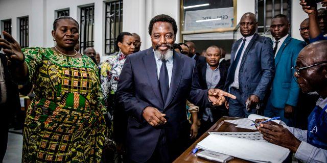 Partier som stödjer den avgående presidenten Joseph Kabila har vunnit en majoritet i parlamentet enligt AFP. LUIS TATO / AFP
