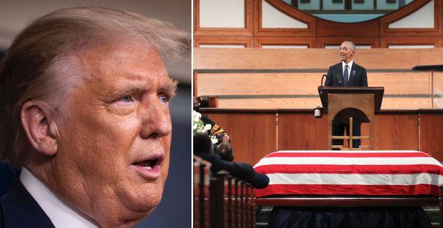 Donald Trump och Barack Obama.  TT