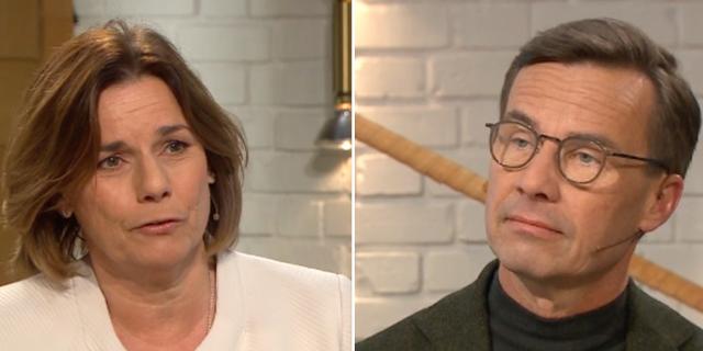 Miljöpartiets språkrör Isabella Lövin och Moderaternas partiledare Ulf Kristersson. TV4