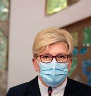 Valvinnaren Ingrida Simonyte på en presskonferens efter valet Mindaugas Kulbis / TT NYHETSBYRÅN