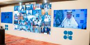 Det senaste Opec+-mötet hölls per videolänk tidigare i veckan. ,00 SAUDI PRESS AGENCY / TT NYHETSBYRÅN